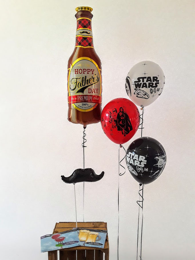 Zum Vatertag gibt's Bier. Wieso also nicht mal einen Bier-Ballon verschenken? Witzig dazu sind verschiedene Star Wars Ballons und ein Schnurrbart. Eben genau das richtige für einen echten Männertag.