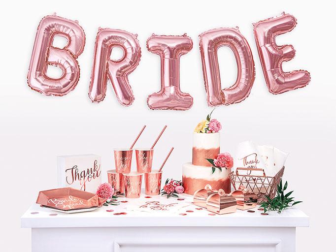 Bride. Partydekoration und Partyequipment für die Brautparty oder Jungesellinnen.