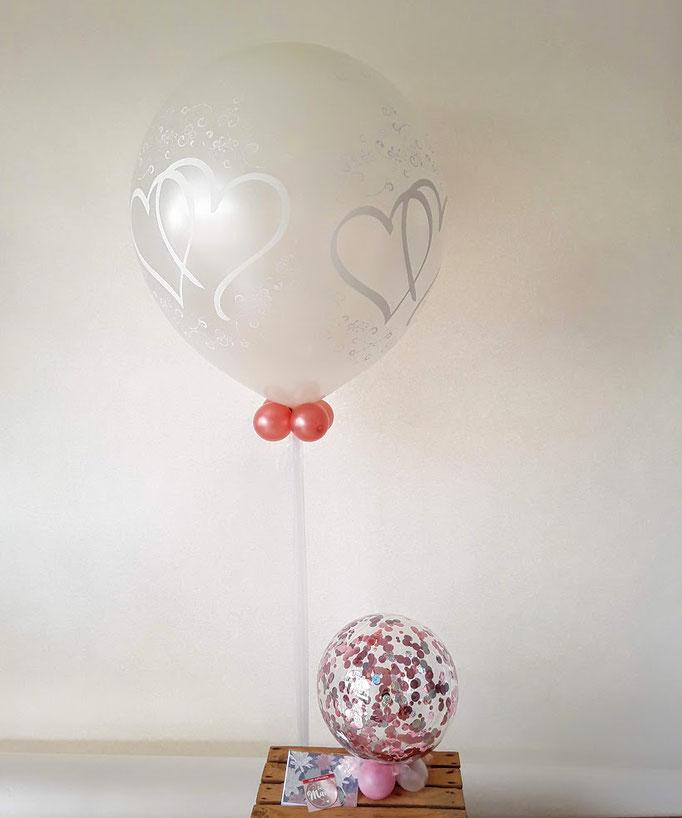 Konfetti-Geld-Kugel mit passendem  zu sehen. Die Geldscheine stecken wir in den durchsichtigen Ballon mit Konfetti.
