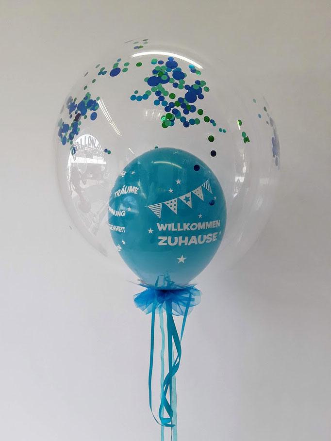 Bubble Dekoration in blau und grün: Willkommen zuhause.
