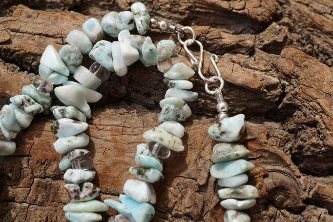 Larimar und Bergkristall, 50,5cm     €88