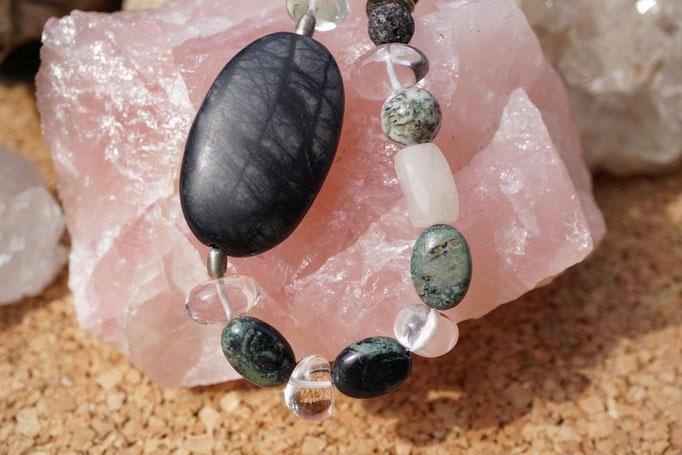 Lava, Prehnit, Baumachat, Picassomarmor, Bergkristall  und Ryolith, 48cm     €56