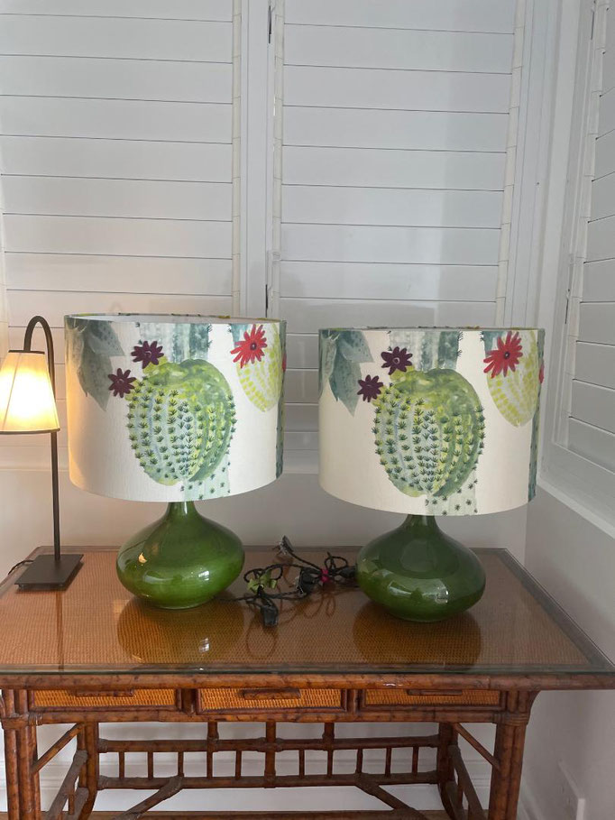 Lampshades in 'Cactus' on a green Moroccan base