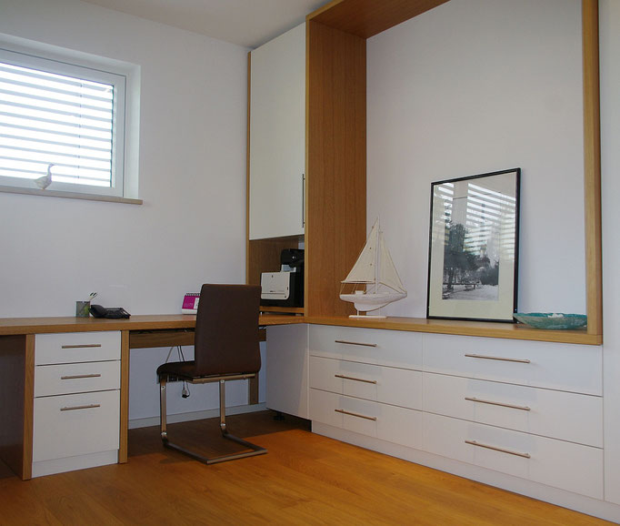 Arbeitszimmer Lack weiß und Eiche