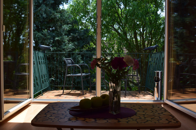 Blick vom Sofa auf den ruhig gelegenen Balkon....
