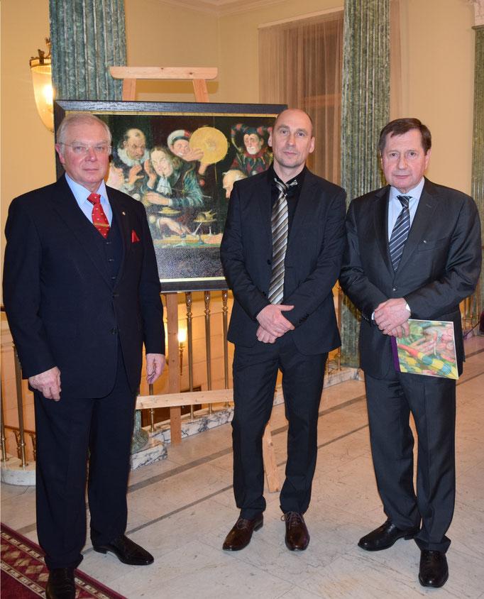 Mit russischem Botschafter in Deutschland Wladimir M. Grinin und Leiter des Handels- und Wirtschaftsbüros bei der Russischen Botschaft Jurij Stezenko