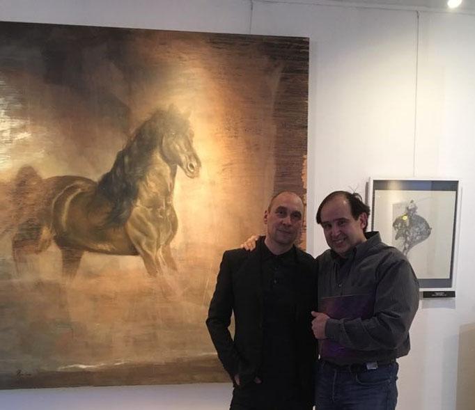 """Mit Rafael Ramirez bei der Ausstellung """"Тьма und Licht"""" im Russischen Haus der Wissenschaft und Kultur"""