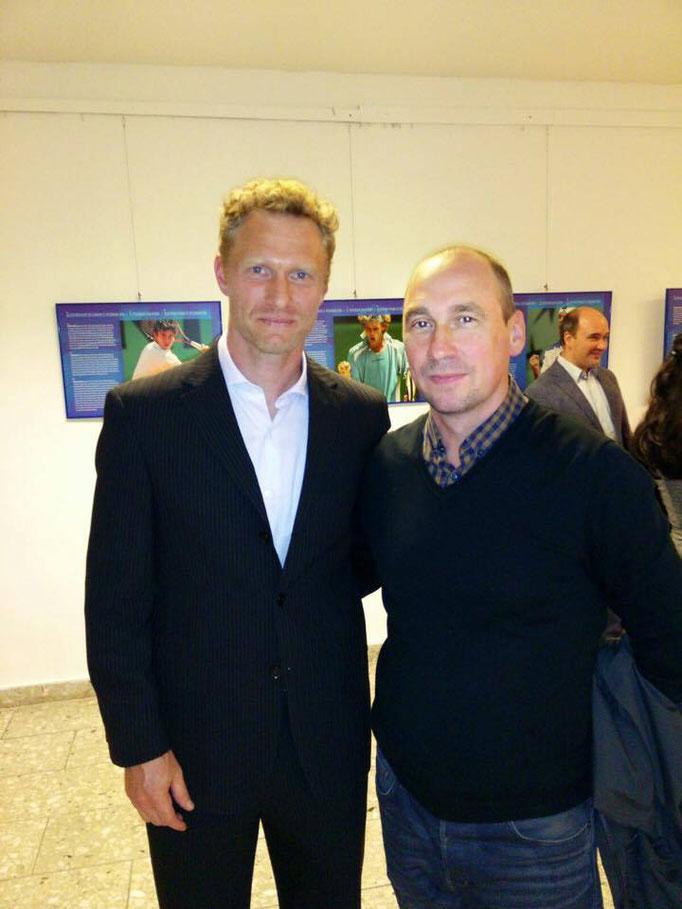 Mit Dmitry Tursunov, russischer Tennisspieler