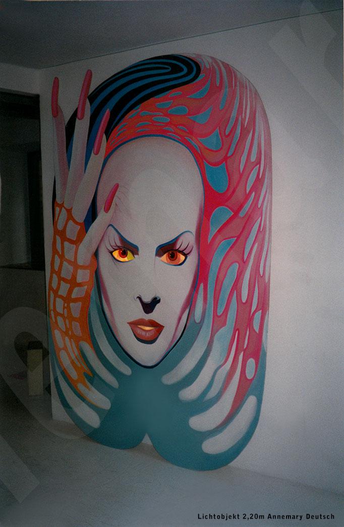 "Holzobjekt 2,20m  ""Lichtblick""    Drehmotorik der Augen . Acrylmalerei"