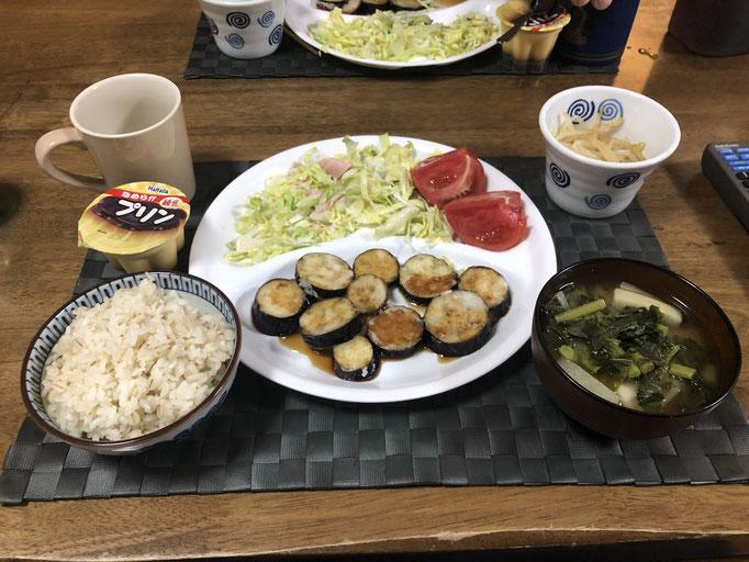 5月3日日曜日、Ohana夕食「ナスの片栗粉揚げ、もやしのナムル、サラダ(キャベツ、キュウリ)、みそ汁(大根、大根の葉)、プリン」