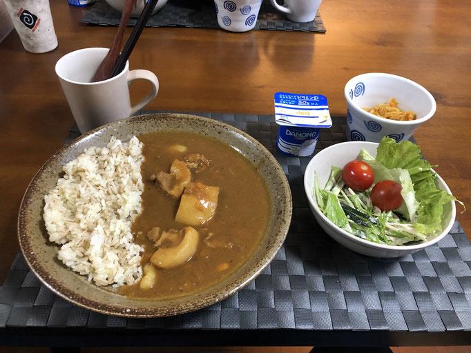 6月7日日曜日、Ohana夕食「カレーライス、サラダ(水菜、ツナ、きゅうり、カニカマ、レタス、プチトマト)、切り干し大根、ヨーグルト」