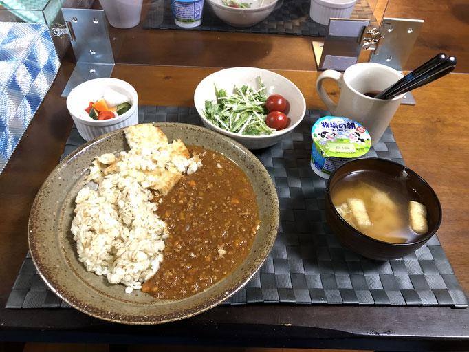 6月14日日曜日、Ohana夕食「キーマカレー、サラダ(水菜、ツナ、プチトマト)、ピクルス、みそ汁(ねぎ、油揚げ)、ヨーグルト」