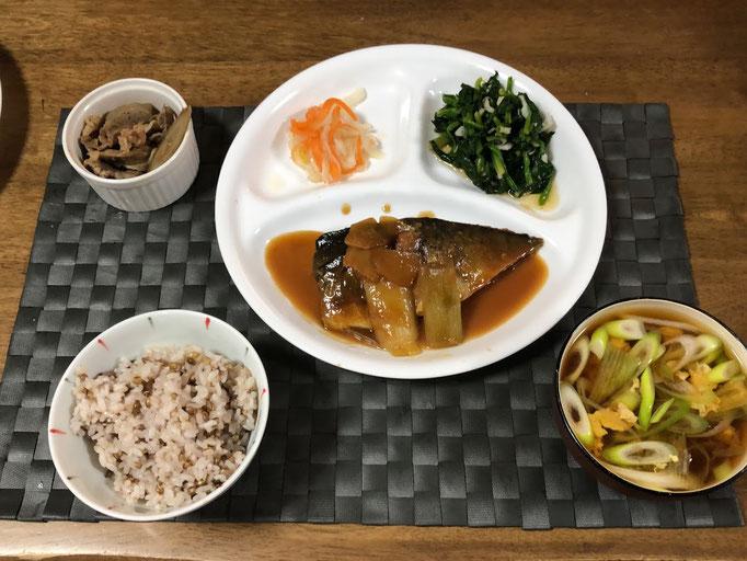 2月14日金曜日、Ohana夕食「鯖の味噌煮、ほうれん草のお浸し、なます、ごぼうと豚肉の煮物、ねぎのかき玉汁」