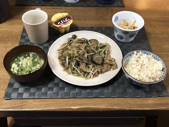 5月14日木曜日、Ohana夕食「なすと水菜の甘酢生姜炒め、もやしのナムル、たまごと水菜の中華スープ、プリン」
