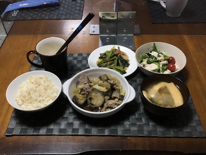 4月23日金曜日、Ohana夕食「野菜炒め(キャベツ、人参、玉ねぎ、豚肉、ナス)、小松菜とちくわの炒め和え、紅菜苔とむね肉のゴマみそ和え、みそ汁(油揚げ、玉ねぎ)」