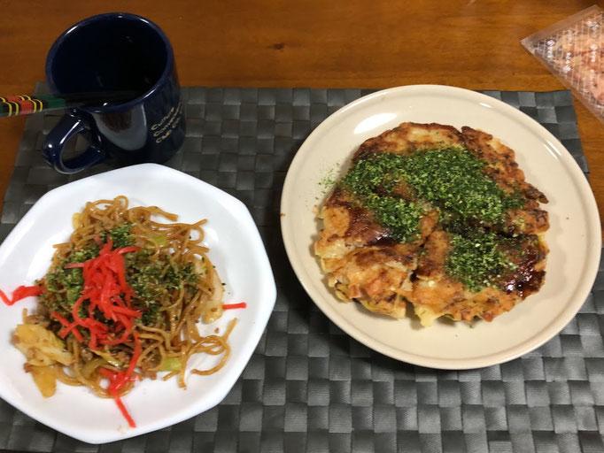 3月6日土曜日、Ohana夕食「お好み焼き、焼きそば」