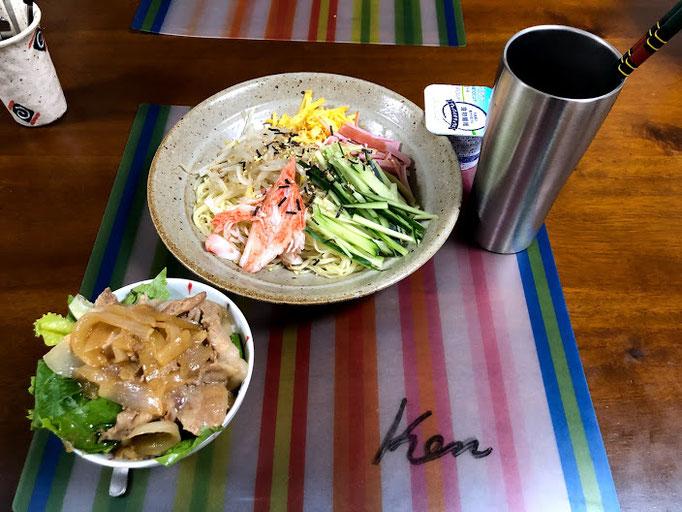 6月9日日曜日、Ohana夕食「冷やし中華、ミニ豚丼、ヨーグルト」