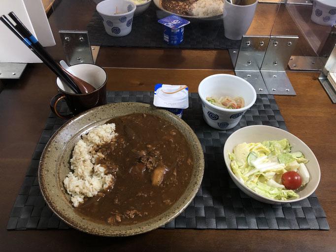 10月19日月曜日、Ohana朝食「ビーフシチュー、サラダ(白菜、きゅうり、プチトマト、パイン)、もやしときゅうりの酢の物、ヨーグルト」