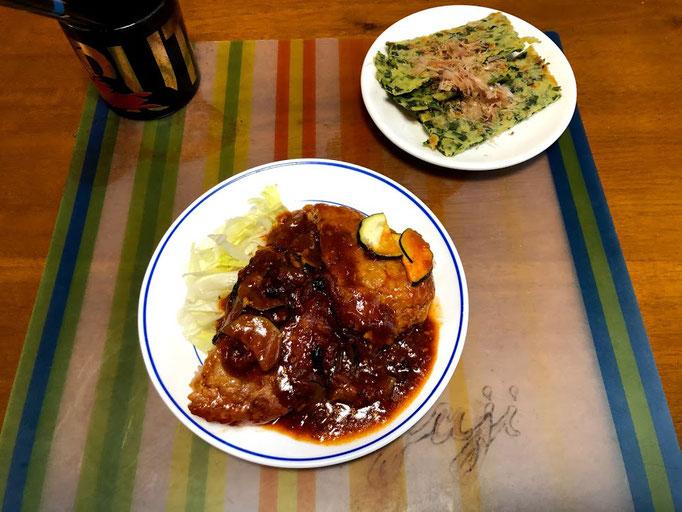 7月23日火曜日、Ohana夕食「煮込みハンバーグ、にらのチヂミ、なすきゅうりの浅漬け、味噌汁、ご飯」