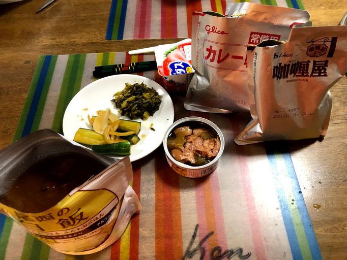 9月1日日曜日、Ohana夕食「災害食(アルファ米、レトルトカレー、缶詰め」