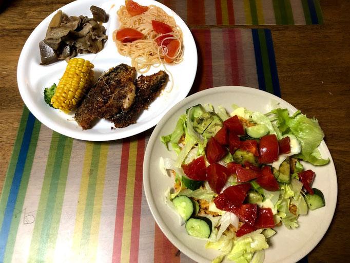 7月26日金曜日、Ohana夕食「タコライス、鰯のパン粉焼、ごぼうと豚肉こんにゃくの時雨煮、トマトの冷製パスタ」
