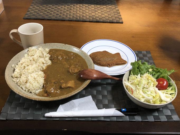 3月22日日曜日、Ohana夕食「カレーライス、サラダ(キャベツ、レタス、プチトマト)、たい焼き」