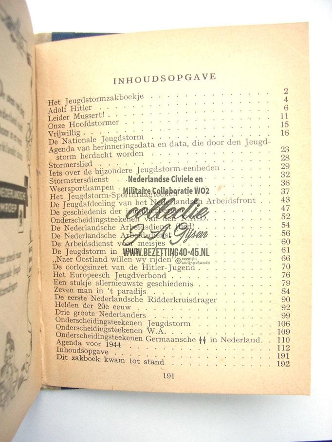 NSB Zakboekje jeugdstorm 1944  inhoud