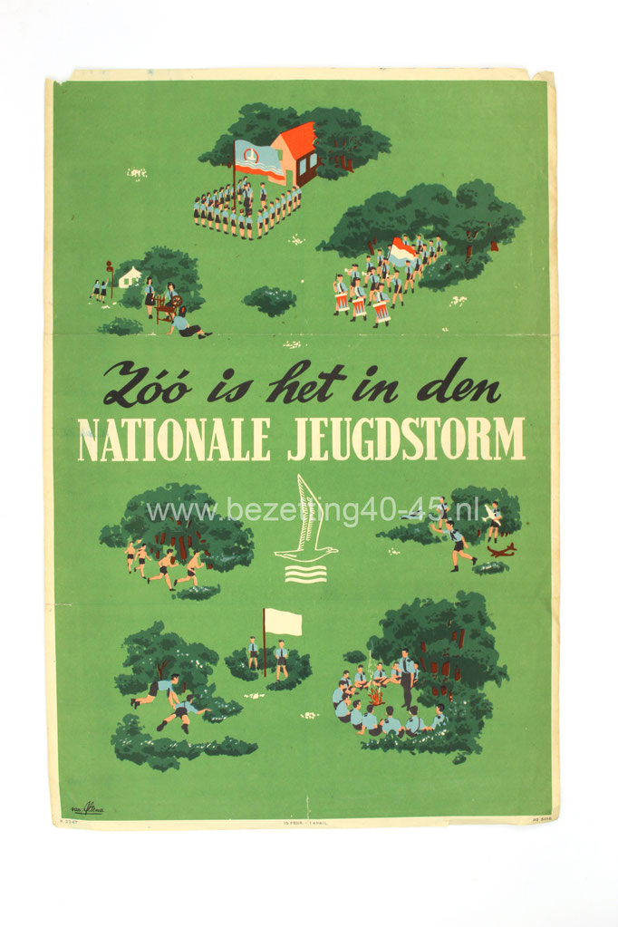"(NSB) Jeugdstorm propaganda affiche,  ""Zoo is het in de NATIONALE JEUGDSTORM"" ."