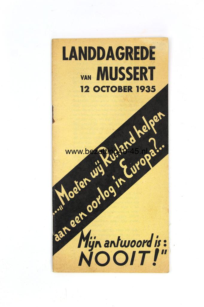 NSB brochure: 4e Landdag Mussert, Den Haag 2 oktober 1935.