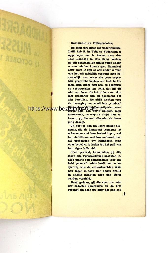 NSB brochure: 4e Landdag Mussert, Den Haag 2 oktober 1935