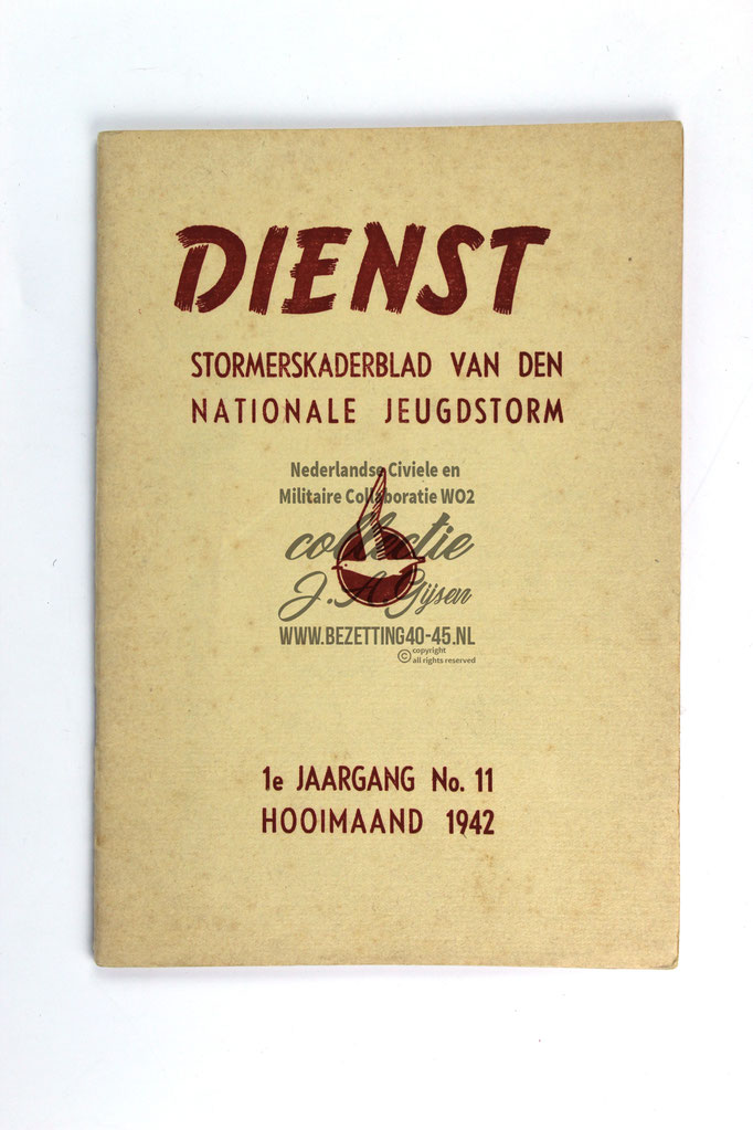 (NSB) Jeugdstorm book Dienst stormerskaderblad for Boy 1e jaargang no 11 Hooimaand 1942 very good condition