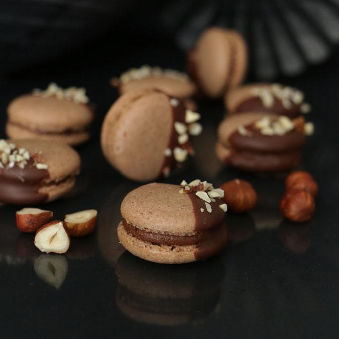 Haselnuss & dunkle Schokolade Macarons