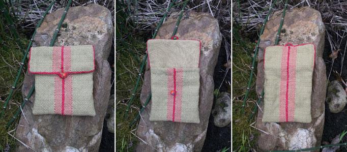 Handgewebte Tasche im Muster Rippen Rauten Köper geöffnet