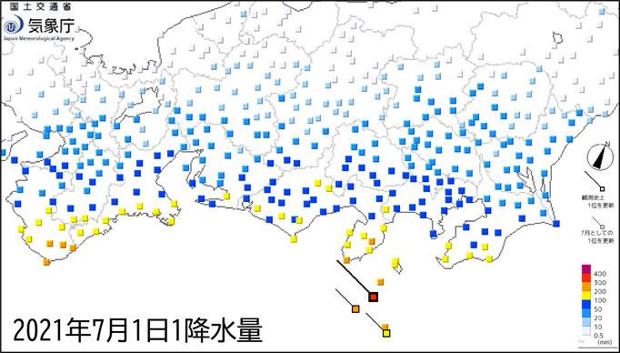 7月1日の総雨量 (c)気象庁