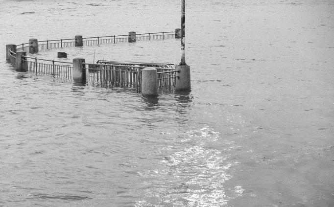 Weser-Hochwasser an der Sielwallfähre