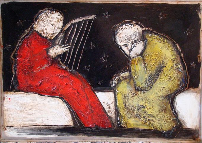 David und Saul, Vliesbild, 40 x 60 cm, 2016 (Galerie Graefe, Berlin)