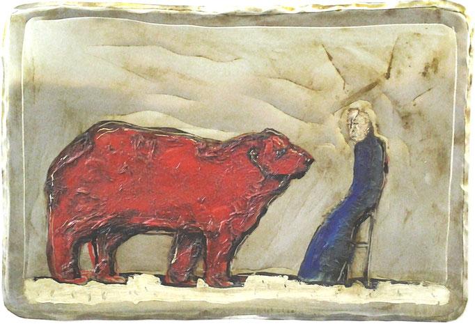 Franziskus redet mit den Tieren, Vliesbild, 30 x 50 cm, 2013