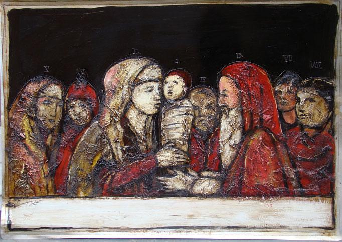 Die Darbringung, Vliesbild, 40 x 60 cm, 2016