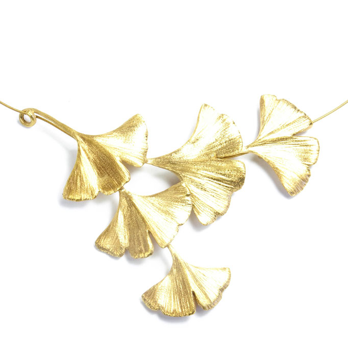 Gingko Necklace 5 Leaves