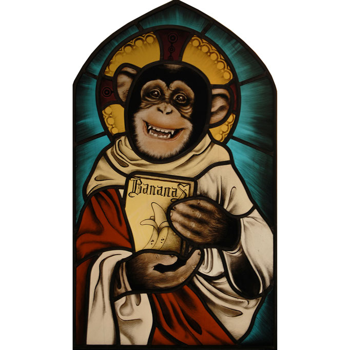 glas in lood aap / painted stained glass monkey