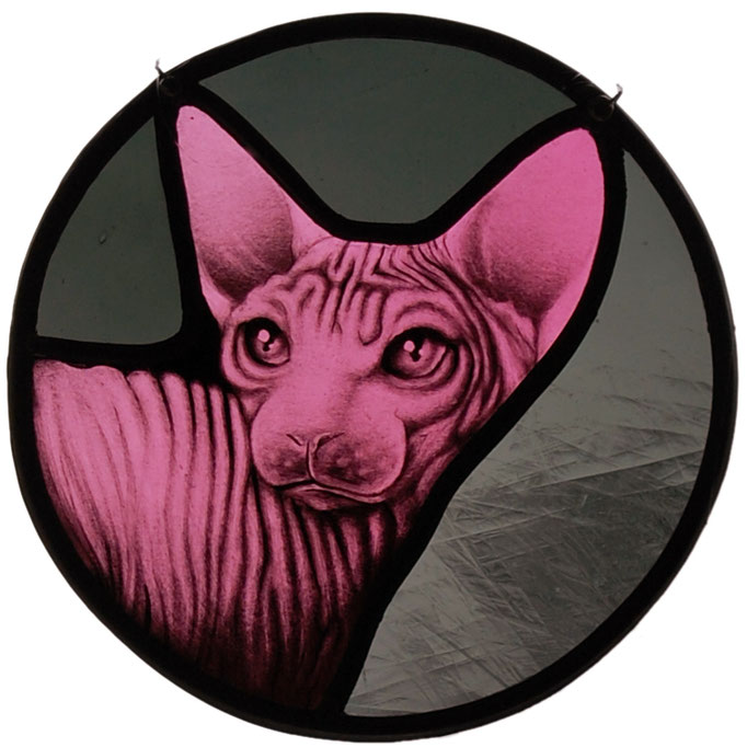 glas in lood sphynx / stained glass sphynx art