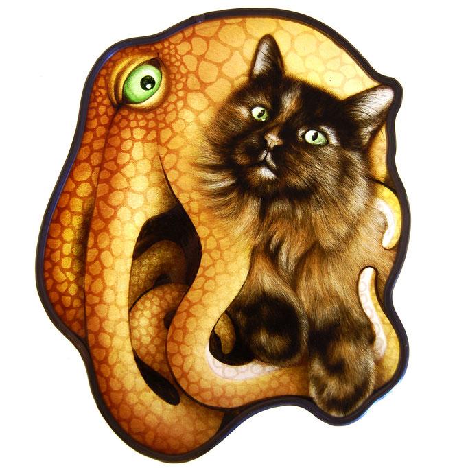 glas in lood octopus met kat