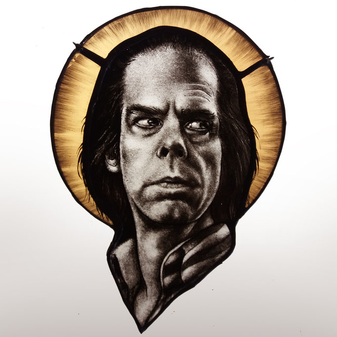 gebrandschilderd glas in lood nick cave / stained glass portrait