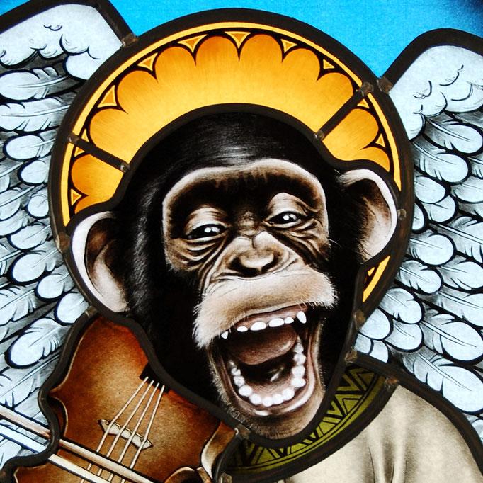 glas in lood heilig aapje / stained glass monkey
