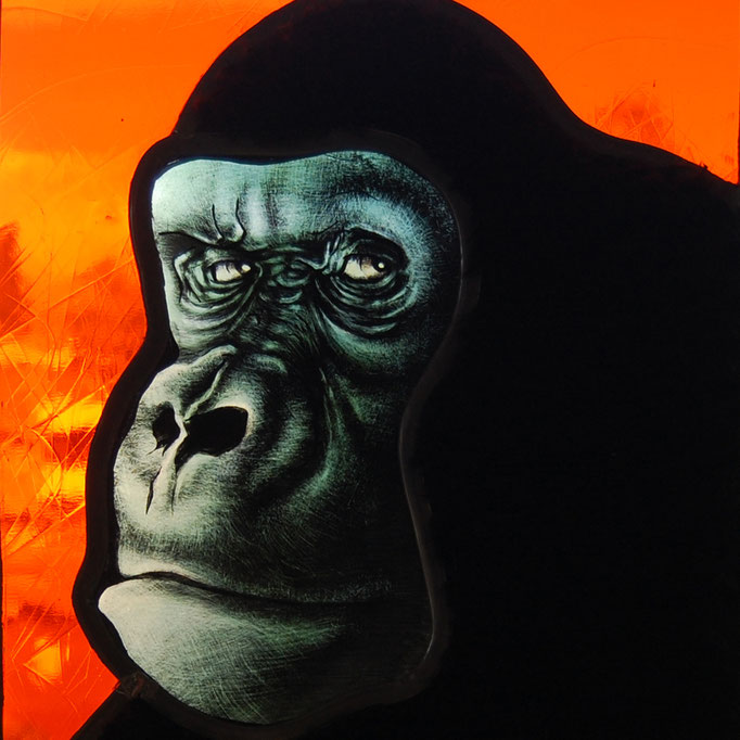 glas in lood gorilla / stainedglass gorilla