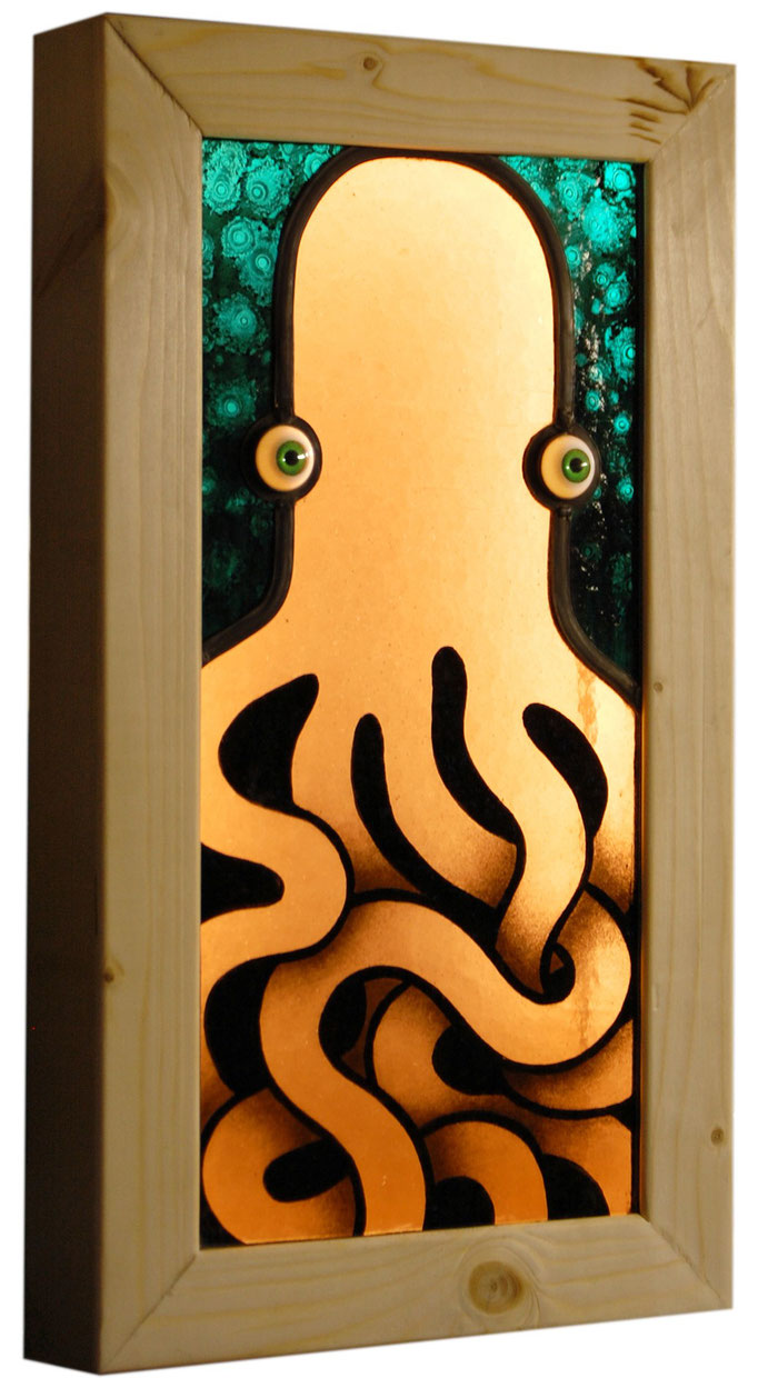 glas in lood oktopus / stained glass octopus