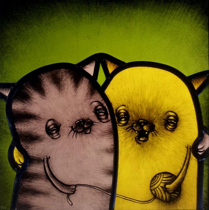 gebrandschilderd glas in lood poezen / stained glass cats