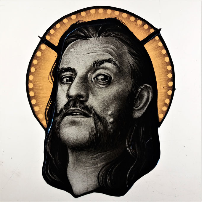 glas in lood portret lemmy / stainedglass portrait Lemmy