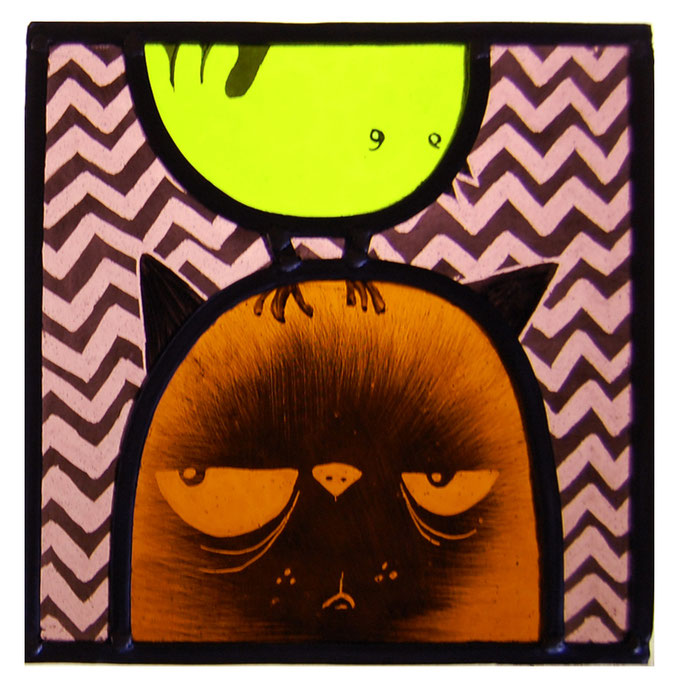 glas in lood kat / stained glass cat