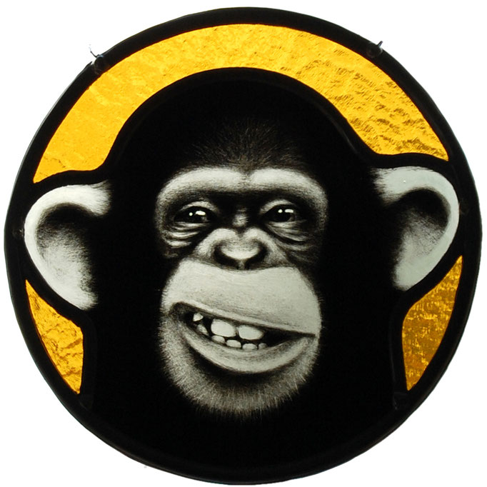glas in lood aap / stained glass monkey